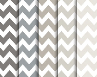 60% OFF SALE  Modern Photography Backgrounds  Patterned Digital Paper Pack   Gray Chevron  5 pieces  jpeg files