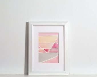 Small Abstract Painting - Peach, pink, grey, abstract with watercolor, original painting 3x5