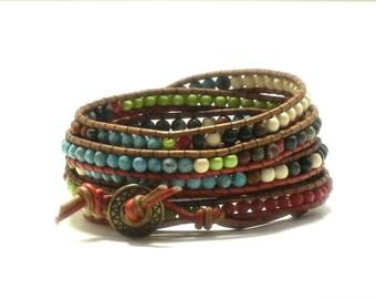 Multi-color 7-wrap leather bracelet