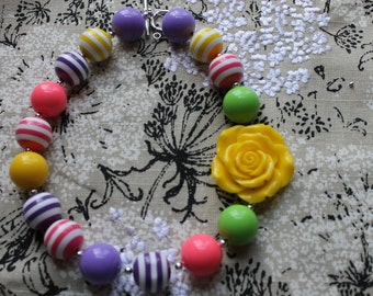 Baby girls Chunky Necklace Summer Chunky Beaded Necklace Children's Necklace, Baby Necklace Baby Girl Gumball Necklace Birthday Necklace