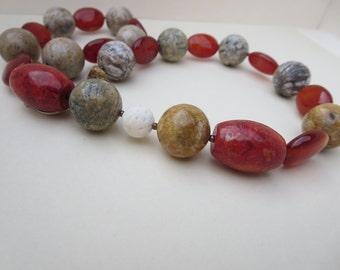 Gemstone Necklace, Handmade Agate Necklace, Gem Coral Necklace, Designer Necklace, K Brown Jewellery