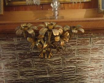 Hollywood Regency Gold Tole Candleholder