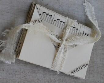 Vintage Music Sheet Notecards with Envelopes- Set of 8