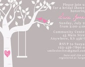 Bridal Shower Tree Invitation with Love Birds, Rope Swing, and Carved Heart