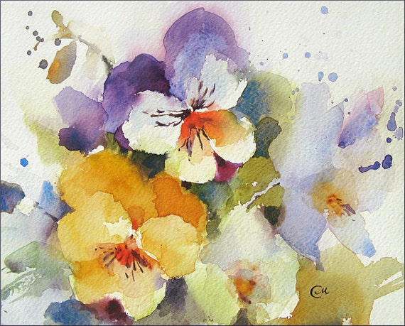 Pansies Watercolor - Original Painting 8x10 inches