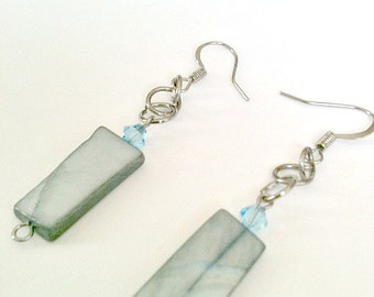 Steel Blue Stone Handmade Earrings With Blue Swarovski Crystal