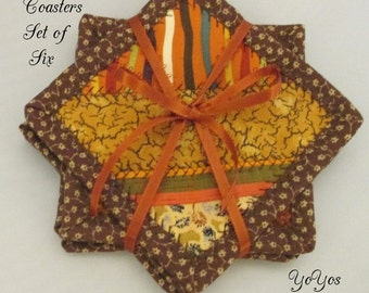 COASTERS Set of Six  AUTUMN Hues Holiday Home Cottage Cabin RV Décor Hostess Teacher Gift