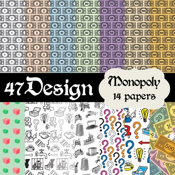 Monopoly themed digital scrapbook paper 14 by fortysevendesign for Themed printer paper