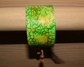 crazy vert handpainted canvas cuff bracelet - leather backed - leafy greens and yellow - adjustable