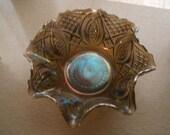 Gorgeous Ruffled Carnival Glass Bowl