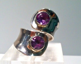 Amethyst sterling silver open statement ring / adjustable, statement ring / summer jewelry/ gift idea for her /February birth stone
