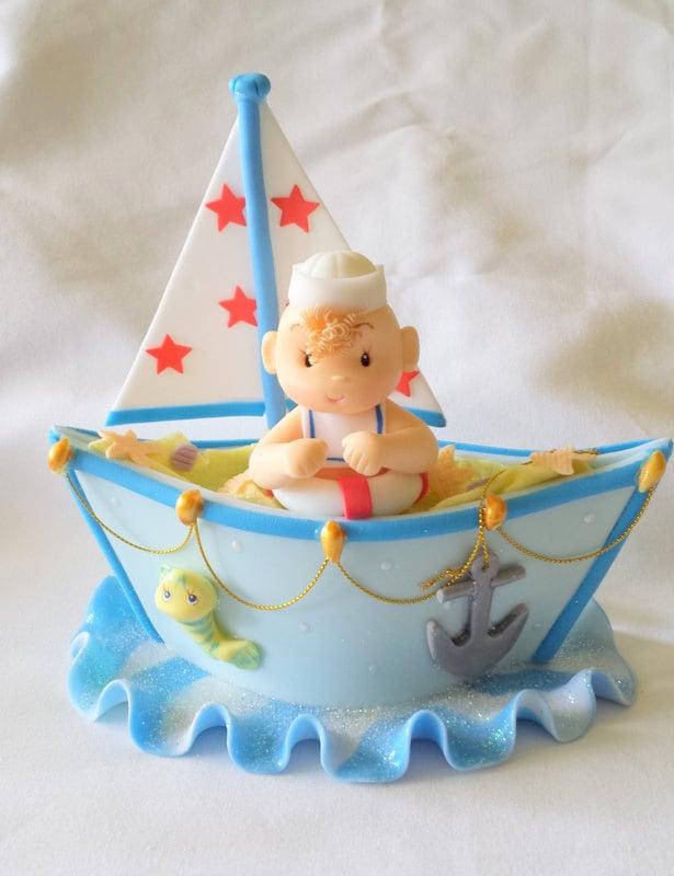 Nautical Cake Decorations Uk : SAILOR CAKE TOPPER. Nautical cake topper. First birthday cake