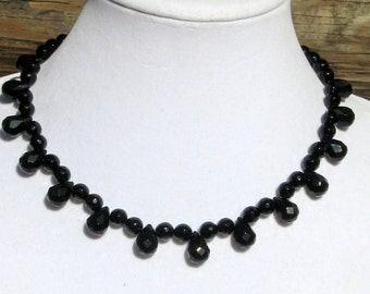 Faceted Onyx Necklace -  Onyx Necklace - Onyx Teardrop Necklace - Onyx Glam Necklace