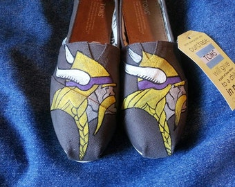 Hand-painted Custom Vikings TOMS or VANS (or any sports team)  shoes