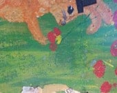 """A Gentleman Gives Flowers Original acrylic rabbits and wildflowers painting 28x16"""""""