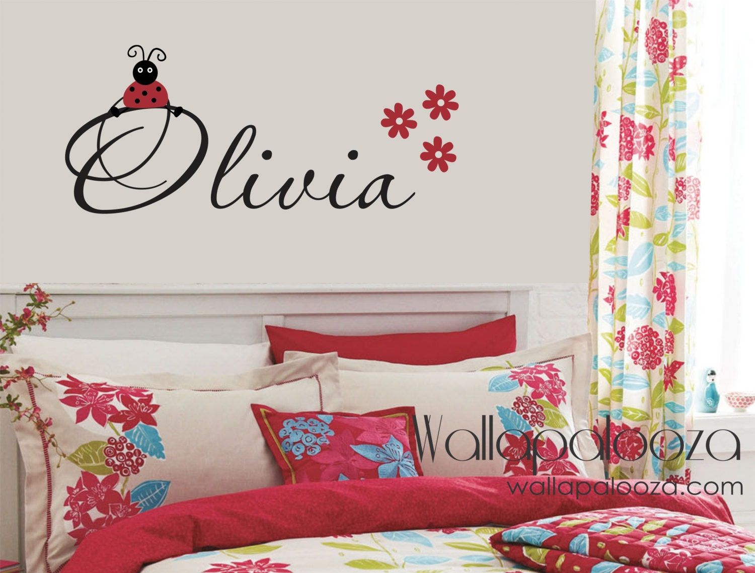 Lady bug wall decal ladybug wall decal girls name decal zoom amipublicfo Choice Image