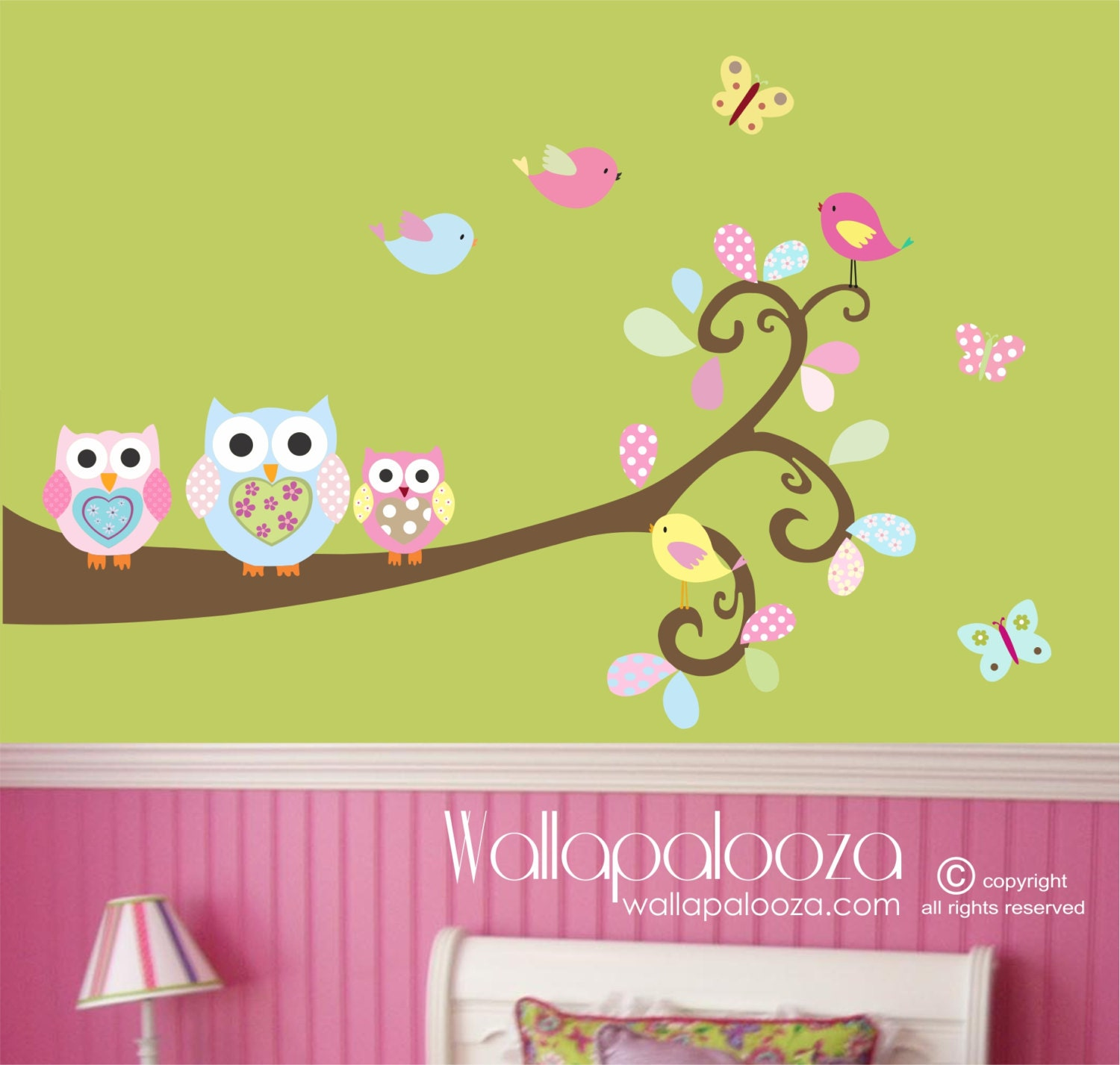 Nursery branch wall art - Owl wall decal - Owls on Branch wall decal ...
