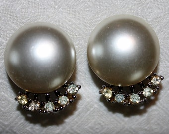 Vintage Pearl Button Clip-On Earrings with Rhinestones