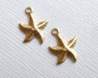 14K Gold Filled Starfish Charms -- 2 Pieces -- Mini Star Fish Stamped Beach Pendants