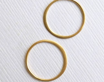 Gold Plated Sterling Silver 15mm Circle Link Connector -- 2 pieces -- HBGS2405
