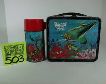 1967 Alladin Voyage To The Bottom of the Sea Lunchbox and Thermos