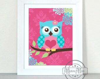 Owl Nursery Art Print- Baby Girl Owl nursery Wall Decor - Nursery decor - Hot pink and aqua, Baby Girl Room Decor
