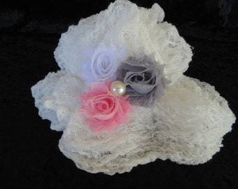 White,Gray or Pink  Cheesecloth and Shabby Chic Trio Headband.. Newborn Photography Prop Headband andCheesecloth Set...