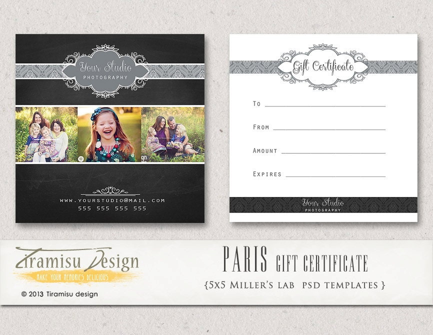 photography gift certificate photoshop 5x5 card template. Black Bedroom Furniture Sets. Home Design Ideas
