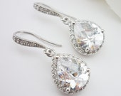 Wedding Jewelry Bridesmaid Gift Bridesmaid Jewelry Bridal Jewelry Clear White LUX (Large) Cubic Zirconia Tear Drop Earrings Dangle Earrings