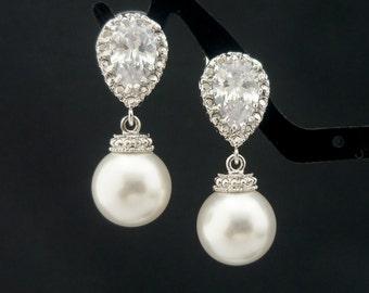 Wedding Jewelry Bridesmaid Gift Bridal Jewelry Pearl Earrings Ivory White OR Cream Swarovski Round Pearl Drop Earrings Dangle Earrings