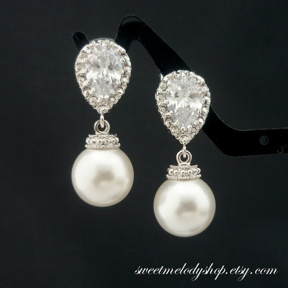 wedding jewelry bridesmaid gift bridal jewelry pearl earrings