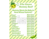 Sweet Pea Baby Shower Game, Pea in Pod Theme Baby Shower Game, Who Knows Mommy Best Game, Printable Sweet Pea Theme Baby Shower Game