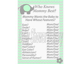 Elephant Baby Shower Game, Mint Green & Grey Baby Shower Game, Printable Baby Shower Game, Mint Green Baby Shower, Elephant Theme Shower