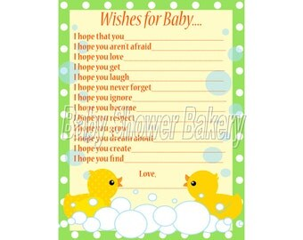 Rubber Duck Baby Shower Game, Wishes for Baby Card, Rubber Duck Theme Baby Shower, Printable Neutral Baby Wishes, Instant Download Baby Wish