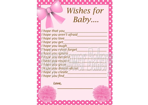 pink wishes for baby card baby girl wishes for by