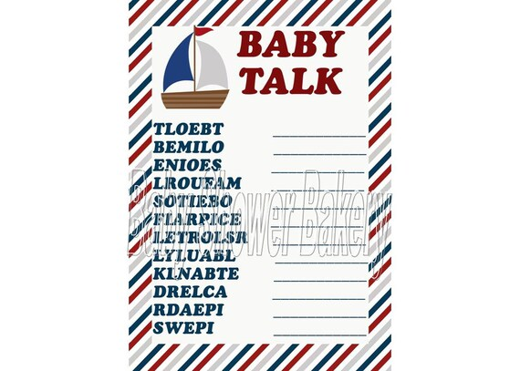 Awesome Nautical Baby Shower Game, Nautical Theme Baby Word Scramble, Nautical  Theme Baby Shower Game, Printable Nautical Baby Shower Game