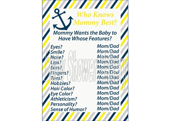 nautical baby shower game yellow nautical baby shower who knows