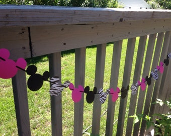 Mickey Minnie Mouse Zebra and Pink Garland