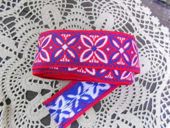 Scandinavian Woven Trim Ribbon - Red White and Blue Star pattern over 2yds 98 inches