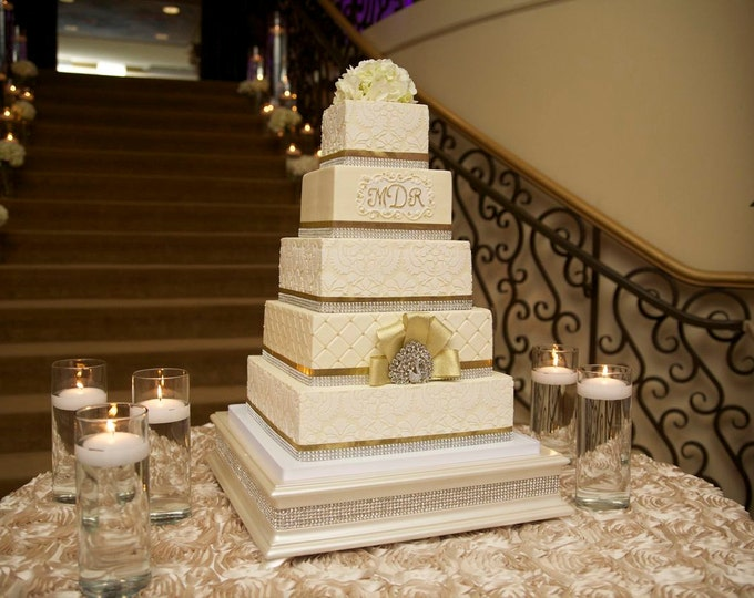 18 inch Square Cake Stand with Ivory Pearl Finish and Diamond Bling Trim