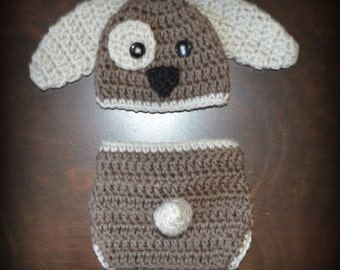 Crochet Puppy Dog Baby Beanie Hat & Diaper Cover Photo Prop Custom Made Boy Girl