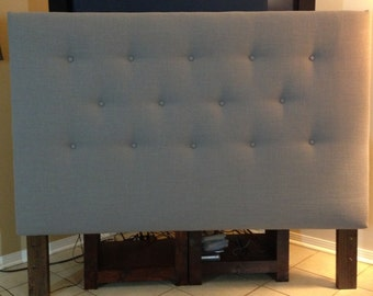 Gray King or Cal King size headboard upholstered and Button Tufted