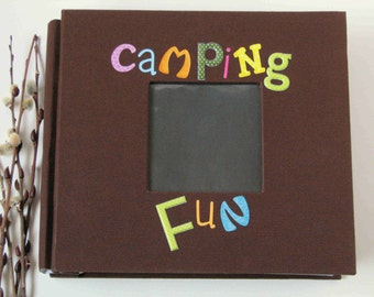 camping scrapbook, premade, 8x8 handmade scrapbook, premade scrapbook pages with album