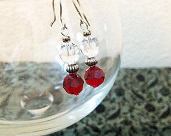 SALE Swarovski Garnet Round Crystal Bead Dangle Earrings Elegant Christmas New Years Holiday Jewelry Gifts Under 10