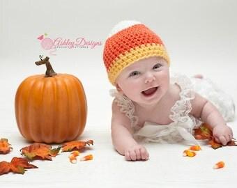 Crochet Pattern Candy Corn Beanie (Newborn - Adult) - PDF - Instant Digital Download