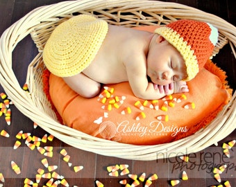 Crochet Pattern Candy Corn Baby Tushy Cover Set - PDF - Instant Digital Download