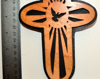 Dove Cross Scroll Saw Wall Plaque