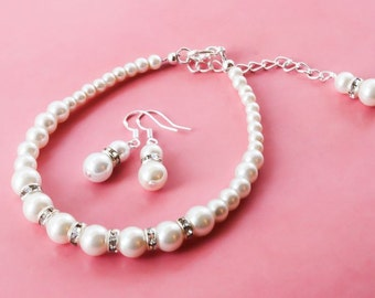 50% OFF SALE Bridesmaids gift - Pearl Jewelry sets with Bracelet and Earrings