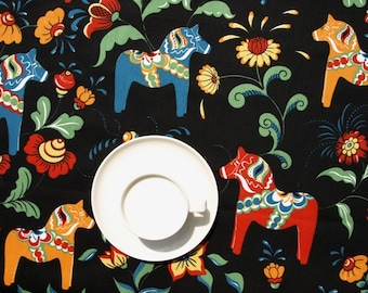 Tablecloth black orange red blue Swedish Dala Horses , table runner , napkins , curtains , pillows available, great GIFT