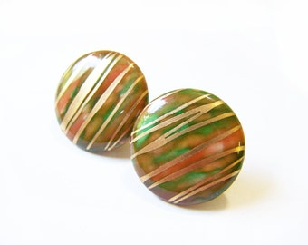 Vintage Gold Striped Colorful Enameled Circle Post Earrings / Gift for Her / D288